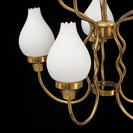 A brass and glass ceiling lamp for ten lights, first half 20th century.