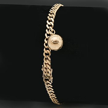 Bracelet 18K gold, curb-link with 1 charm, 11,1 g, approx 19 x 0,5 cm.
