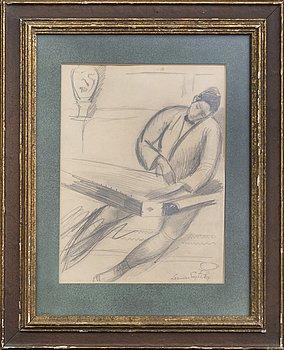 Leander Engström, drawing signed.