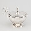 A swedish silver plated sugar bowl with lid, cg hallberg, probably designed by sylvia stave.