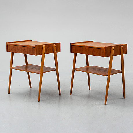 A pair of bedside tables, 1950's-60's.