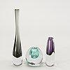 Gunnar nylund, miniature vases, strömbergshyttan, 3 pcs.