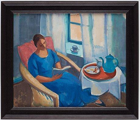 Johan johanson, reading woman - portrait of the artist's wife.