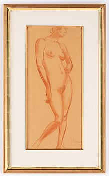 Isaac Grünewald, red chalk drawing, signed.
