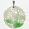 Pendant 18k whitegold, jadeite and brilliant-cut diamonds, height approx 6 cm.