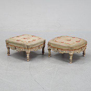 A pair of Louis XVI-style stools, late 19th century.