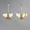 Paavo tynell, a pair of mid-20th-century '9029/6' chandeliers for taito, finland.