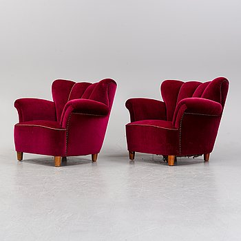 A pair Swedish modern armchairs probably 1940's.