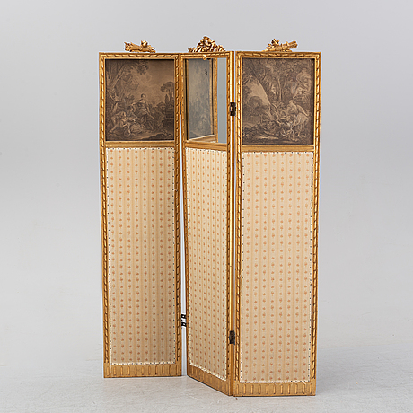 A gustavian style folding screen, first half of the 20th century.
