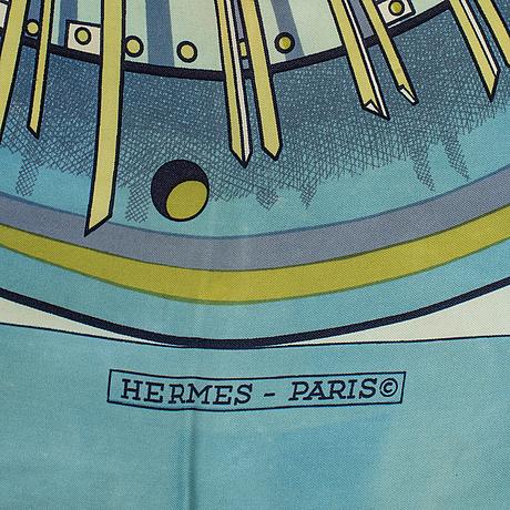 "Hermès, two silk scarves, ""alternateur"" & ""palefroi""."