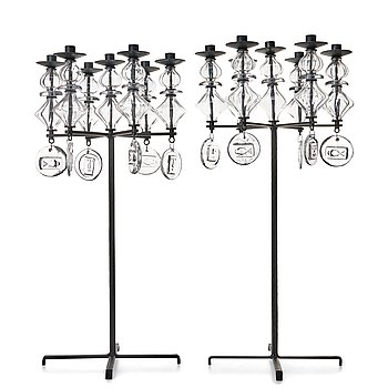 8. Erik Höglund, two wrought iron and glass candelabra, Boda Smide, Sweden.
