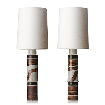 110. Inger Persson, two massive stoneware table / floor lamps, Rörstrand, Sweden 1960's.