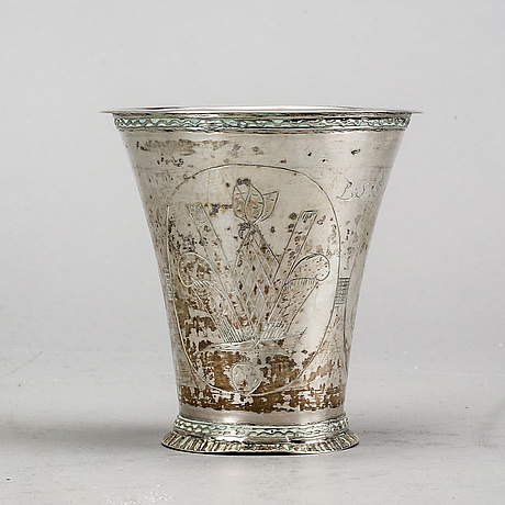 A swedish 18th century silver beaker mark of b halck halmstad 1762.