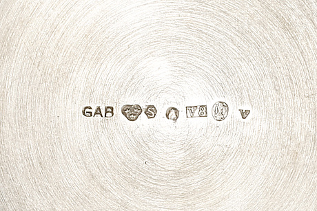 A swedish 20th century silver 3 pcs coffee service mark of gab stockholm 1947.