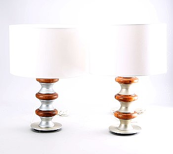 A pair of table lamps later part of the 20th century.