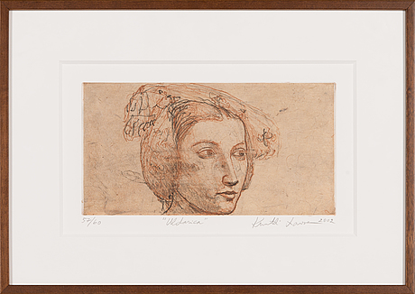 Kuutti lavonen, soft-ground, aquatint, signed and dated 2002, numbered 57/60.