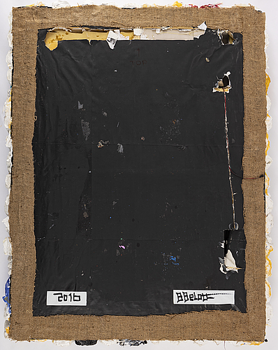Brian belott, mixed media on canvas, lamp,  signed and dated 2016 on verso.