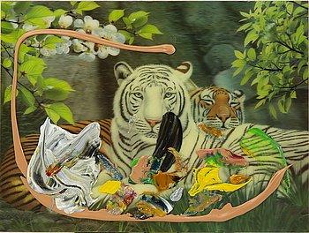 Trisha Baga, acrylic on lenticular print. Executed in 2012.