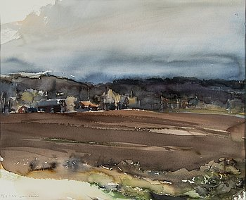 Lars Lerin, watercolor signed and dated 1987.