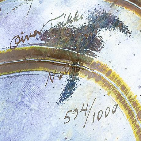 """Oiva toikka, iridecent glass sculpture, """"villihanhi"""", signed and numbered 594/1000 nuutajärvi finland."""