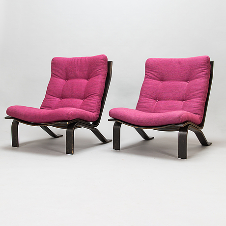 Hans ehrlin, a pair of 1970's 'frisco' armchairs for asko.