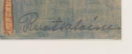 Alfred ruotsalainen, watercolour, signed.