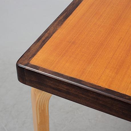 Alvar aalto, a teak dining table, artek, finland, mid 20th century.