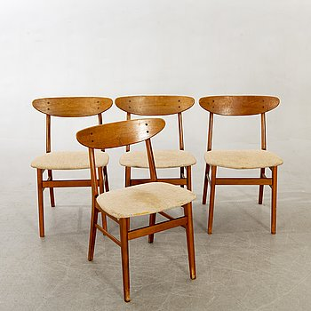 Chairs, Farstrup Denmark, 4 pcs, 1960s.