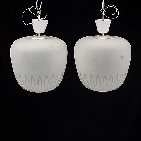 A pair of 1940's swedish medern ceiling lamps.