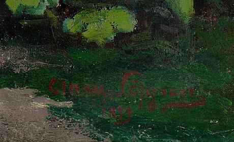 Emilia lönblad, olja pannå, signerad och daterad.