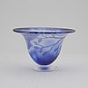 Astrid gate. an unique blue tinted glass bowl with decorations of parrot and branches, signed 2002.