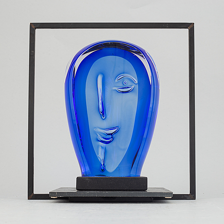 Göran wärff, a glass sculpture with iron stand for kosta boda, signed. unique.