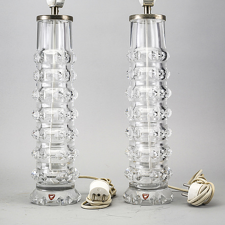 A pair of orrefors table lamps later part of the 20th century.