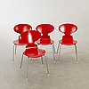 Arne jacobsen, a set of four myran chairs for fritz hansen later part of the 20th century.