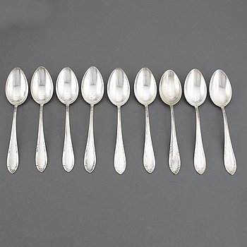 Nine Swedish silver spoons, football memorabilia, 1947-1948 and five spoons, maker's mark CG Hallberg, Stockholm, 1947.