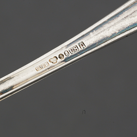 Nine swedish silver spoons, football memorabilia, 1947-1948 and five spoons, maker's mark cg hallberg, stockholm, 1947.