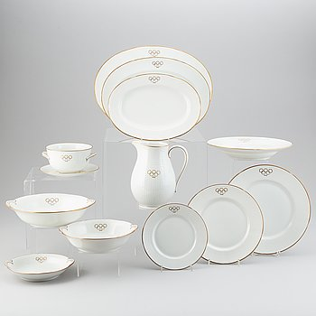 Louise Adelborg, a 58 pcs Olympic Games 1948 porcelain dinner service, Rörstrand, Sweden.