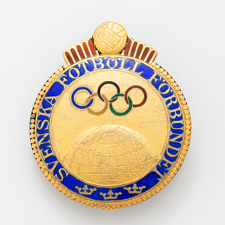 A swedish parcel-gilt and enamel pin, svenska fotboll förbundet, awarded birger rosengren olympic gold, london, 1948.