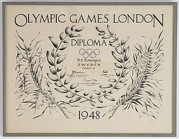 "Olympic Games London Diploma 1948, ""B.E. Rosengren Sweden Football 1st""."