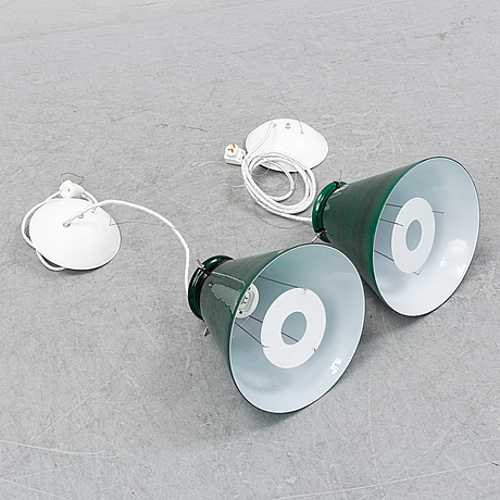 A pair of ceiling lamps in green and white glass, model no 4011, zero.