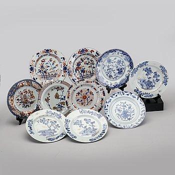 A set of ten different Chinese Qianlong porcelain plates.