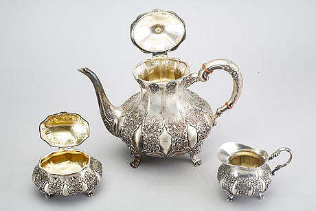 A three pcs silver coffee service first half of the 20th century.