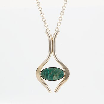 Niels Erik From, pendant with cabochon-cut turquoise.