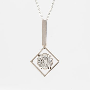 G Kaplan, pendant with faceted white sone, with chain.