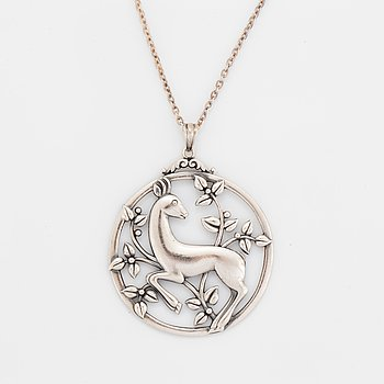 Gustaf Dahlgren & Co, silver pendant, with chain.