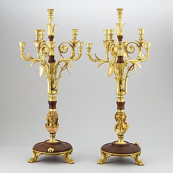 A pair of ca 1900 candelabra, probably France.