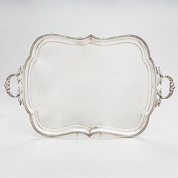 A Russian silver tray, Moscow, maker's mark IV. Unclear year mark, assay master mark Aleksandr Kudrin (1878-82).