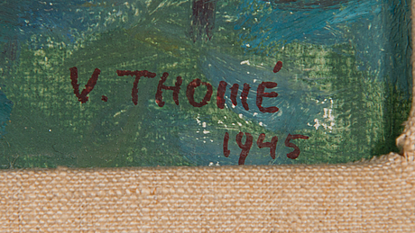 Verner thomé, oil on board, signed and dated 1945.