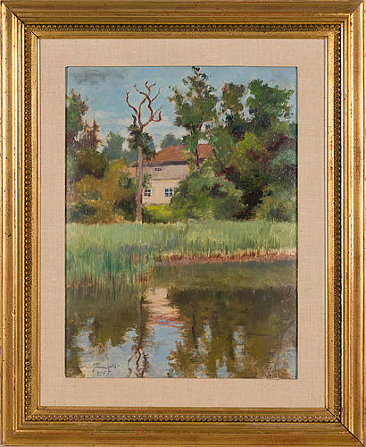 Laura järnefelt, oil on board, signed and dated 1945.
