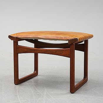 Ejnar Larsen & Aksel Bender, a teak and leather stool for Ludvid Pontoppidan Denmark, 1950's.